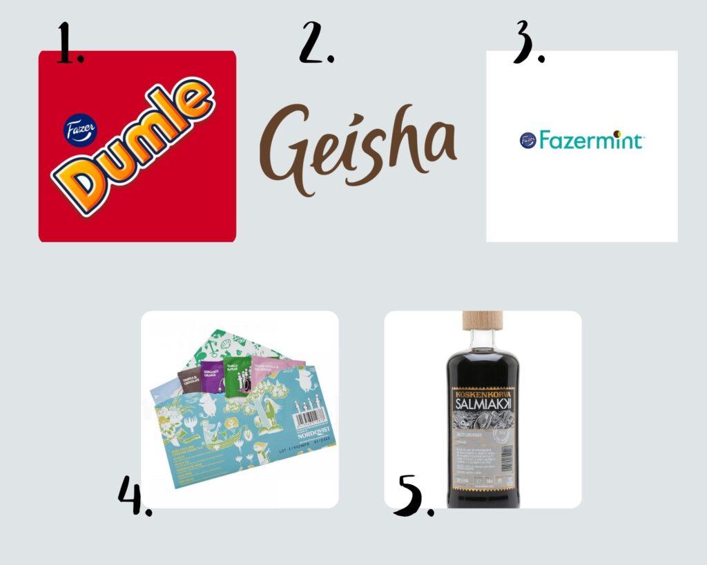 Prezentownik jedzeniowy: Dumle, Geisha, Fazermint, muminkowe herbatki oraz salmiakówka.