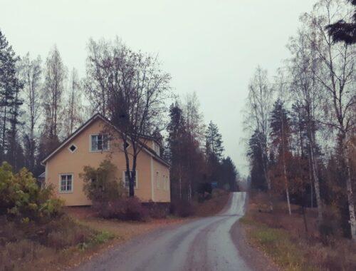 Widok na żółty domek w Ouninpohja